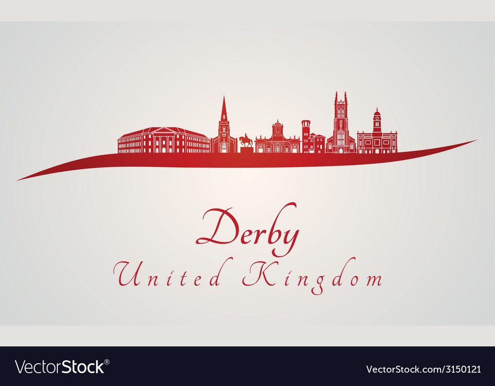 Derby skyline in red vector | Price: 1 Credit (USD $1)