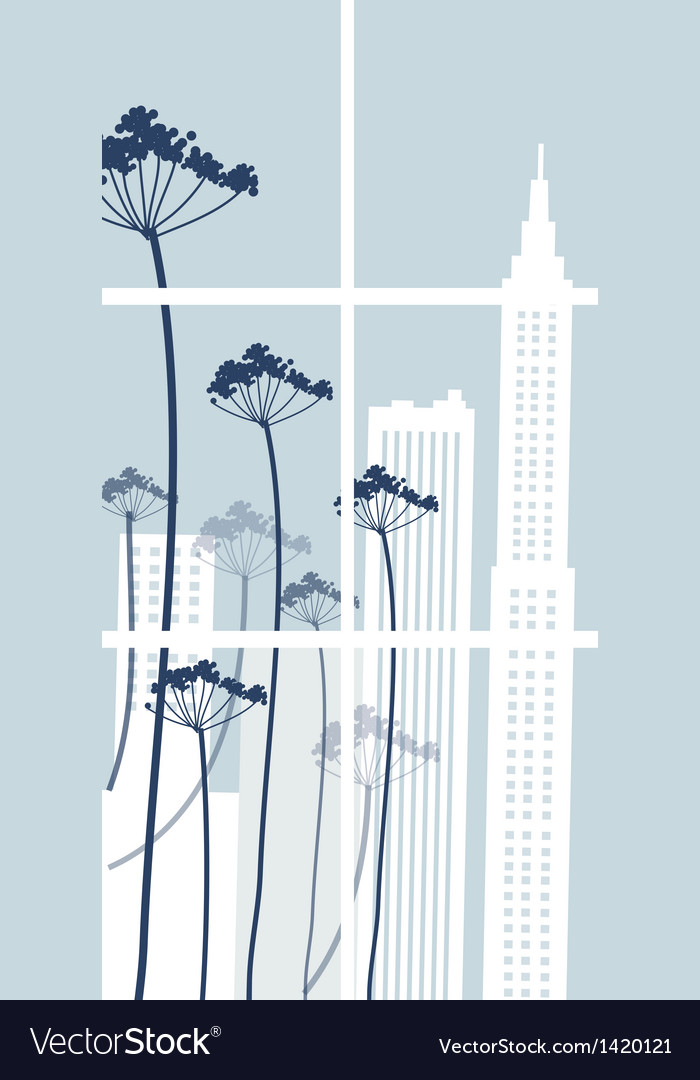 Floral cityscape background vector | Price: 1 Credit (USD $1)