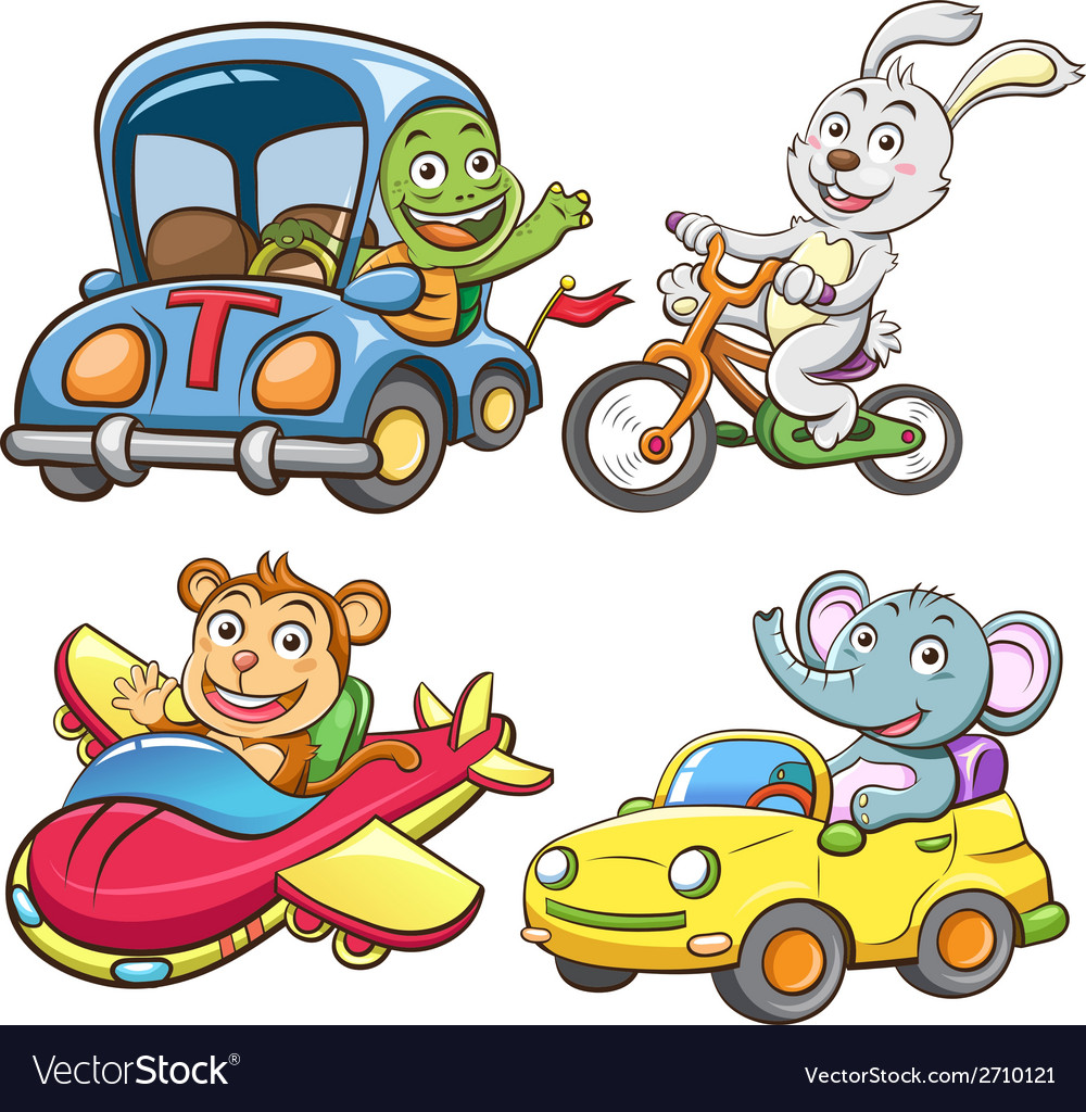 Funny vehicle and animal vector | Price: 3 Credit (USD $3)