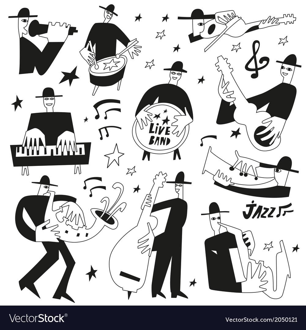 Jazz musicians - doodles set vector | Price: 1 Credit (USD $1)