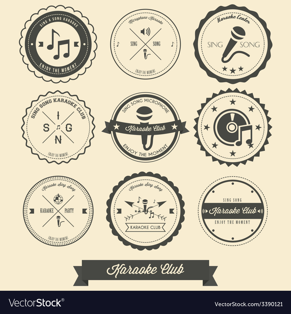 Karaoke vintage label vector | Price: 1 Credit (USD $1)