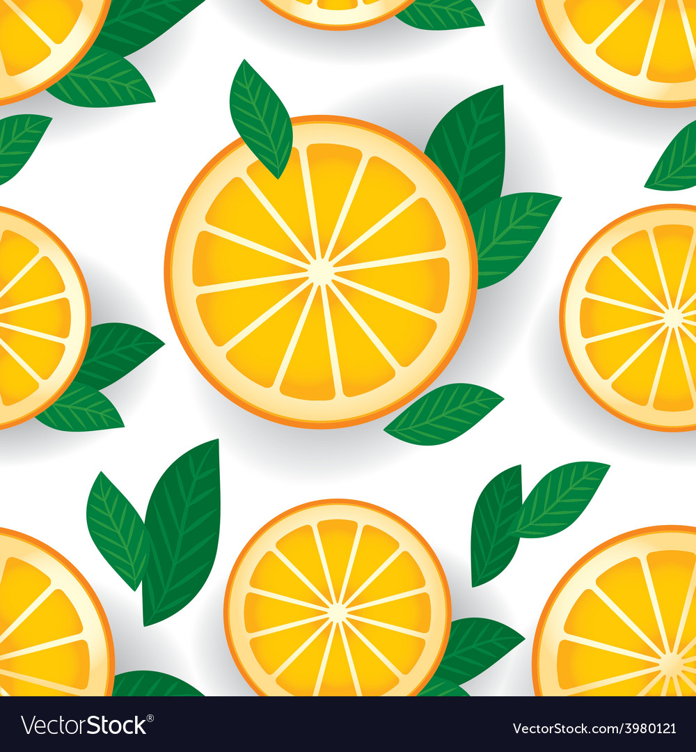 Orange with green leaves seamless pattern vector   Price: 1 Credit (USD $1)