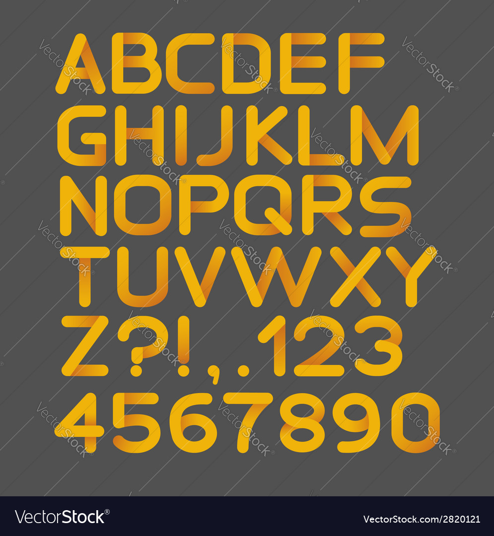 Paper yellow strict alphabet rounded isolated on vector | Price: 1 Credit (USD $1)
