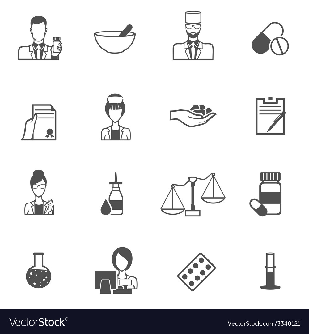 Pharmacist icon black set vector | Price: 1 Credit (USD $1)