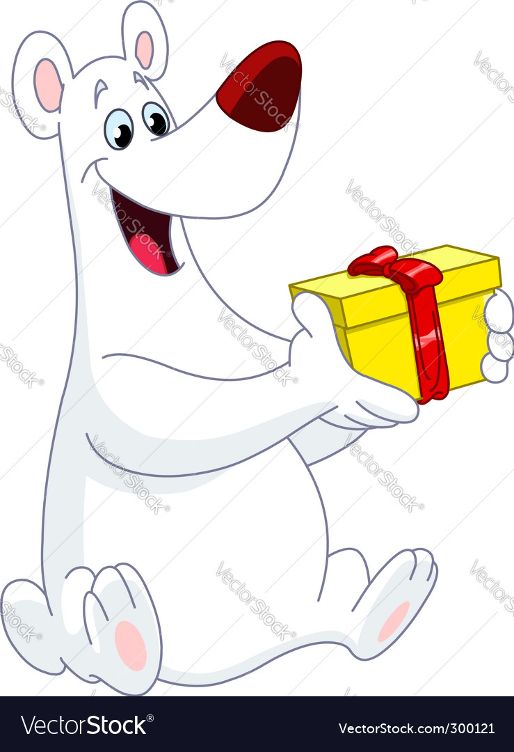 Polar bear christmas gift vector | Price: 1 Credit (USD $1)