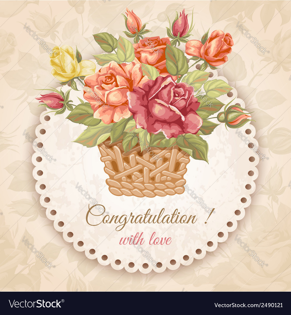 Rose greeting card vector | Price: 1 Credit (USD $1)