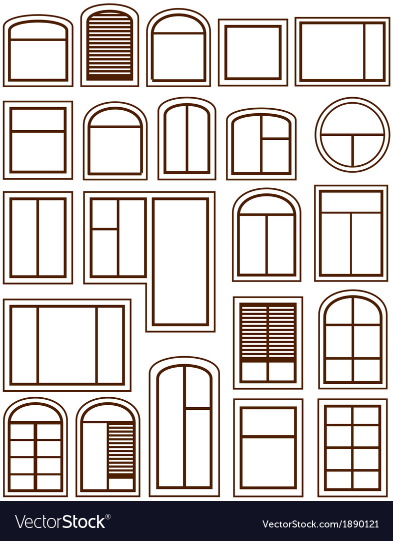 Set isolated windows silhouette vector | Price: 1 Credit (USD $1)
