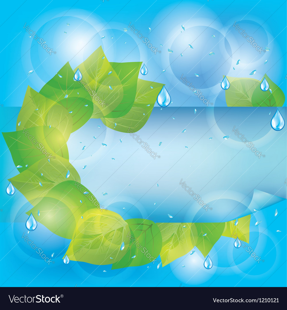 Spring eco background with green leaves vector   Price: 1 Credit (USD $1)