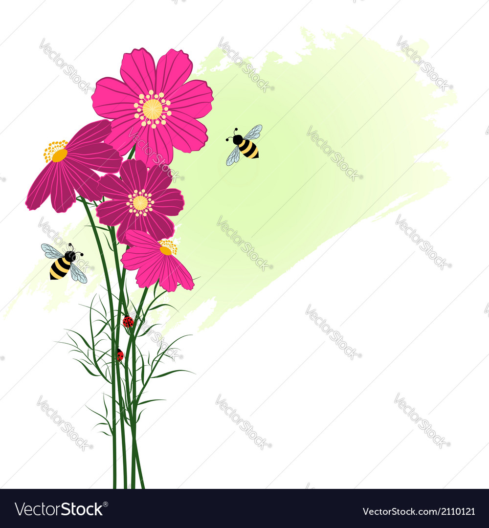 Springtime colorful flower with bees vector | Price: 1 Credit (USD $1)
