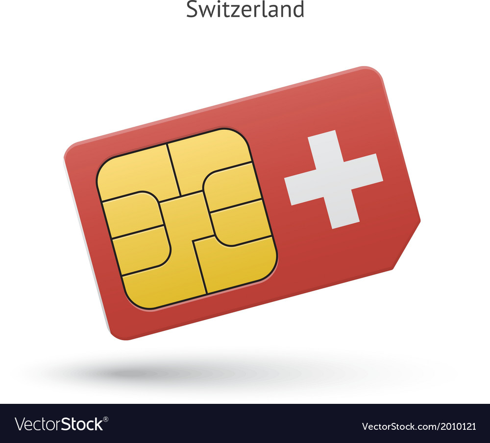 Switzerland mobile phone sim card with flag vector   Price: 1 Credit (USD $1)