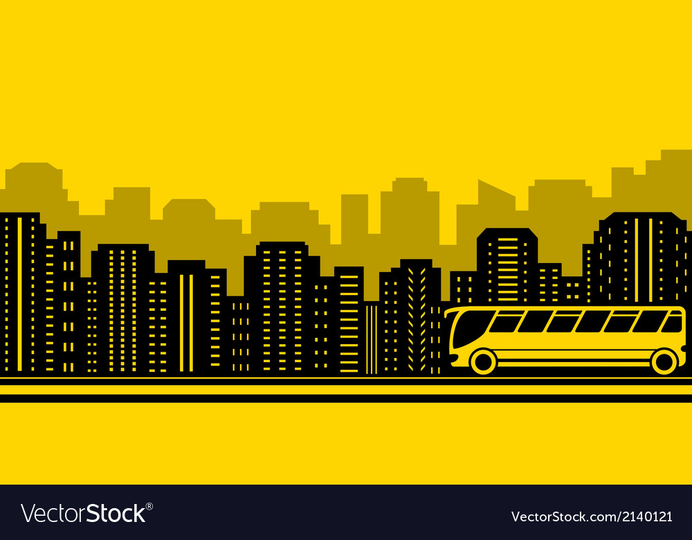 Transport background with town and bus vector | Price: 1 Credit (USD $1)