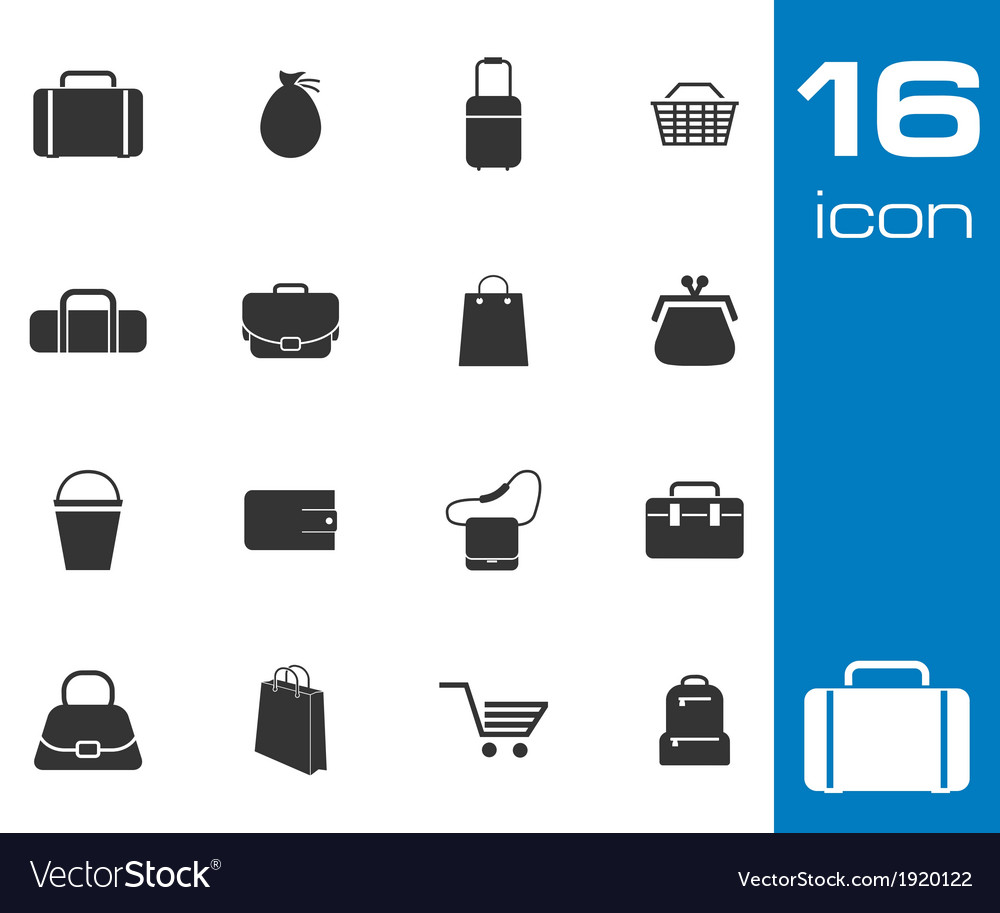 Black bag icons set on white background vector | Price: 1 Credit (USD $1)