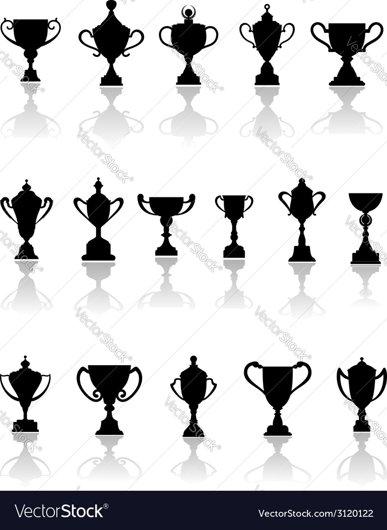 Black silhouette trophy icons vector | Price: 1 Credit (USD $1)