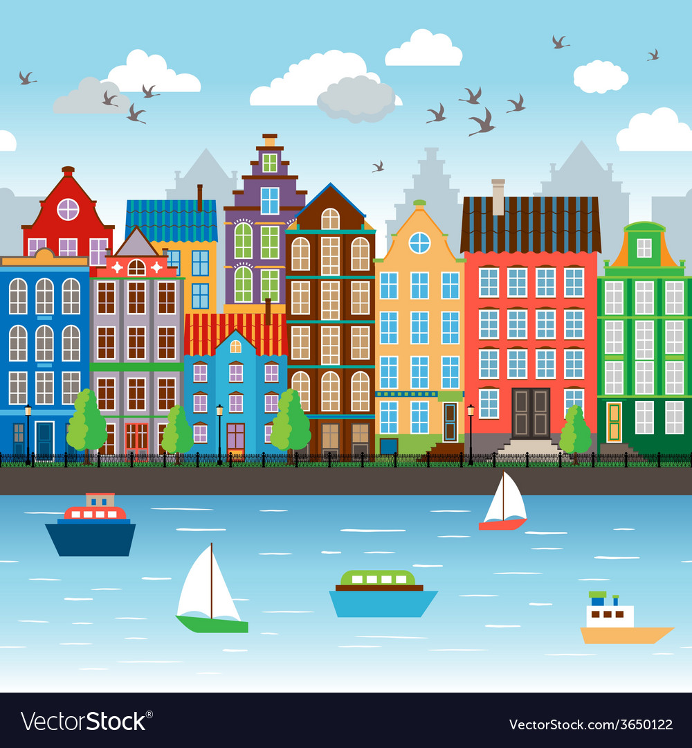City on river vector | Price: 1 Credit (USD $1)
