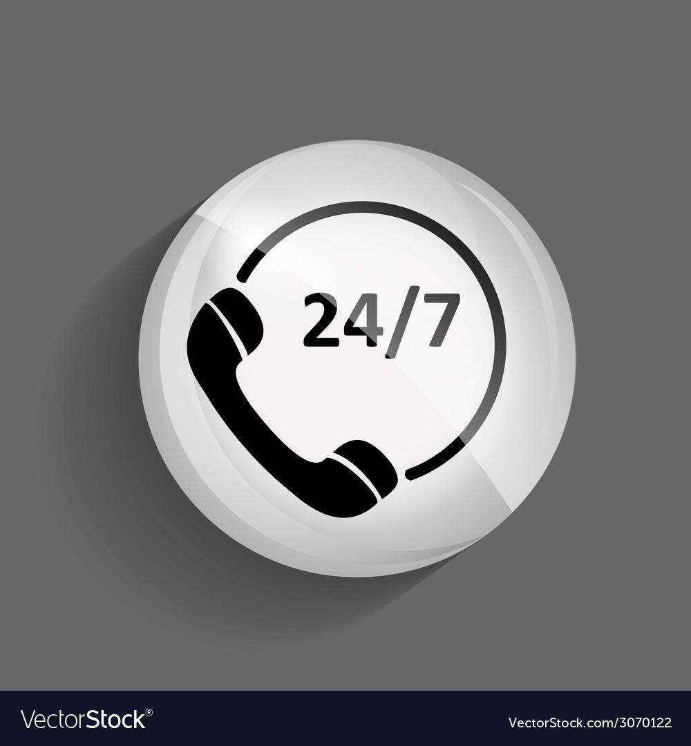 Customer service 247 glossy icon vector | Price: 1 Credit (USD $1)