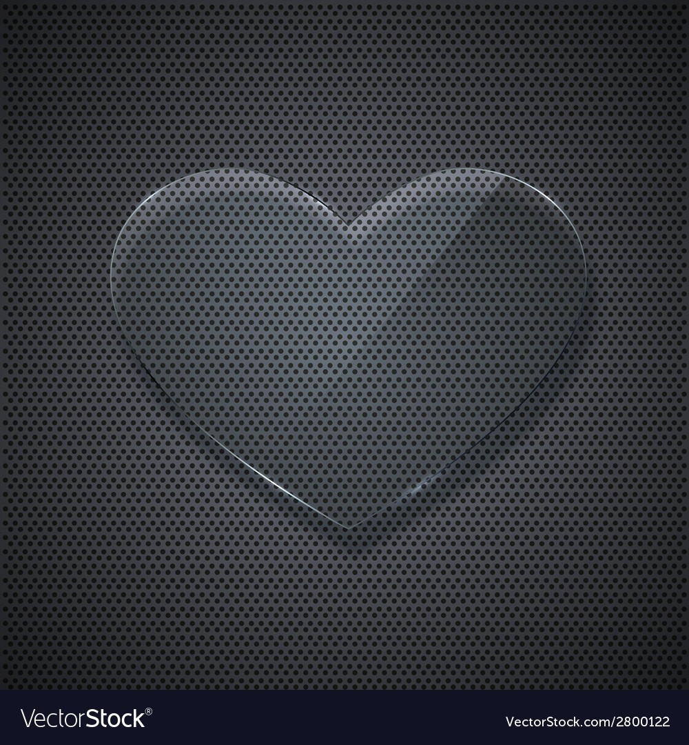 Glass heart on metal grid background vector | Price: 1 Credit (USD $1)