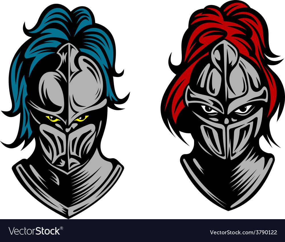 Heads of two fierce men in medieval armour vector | Price: 1 Credit (USD $1)