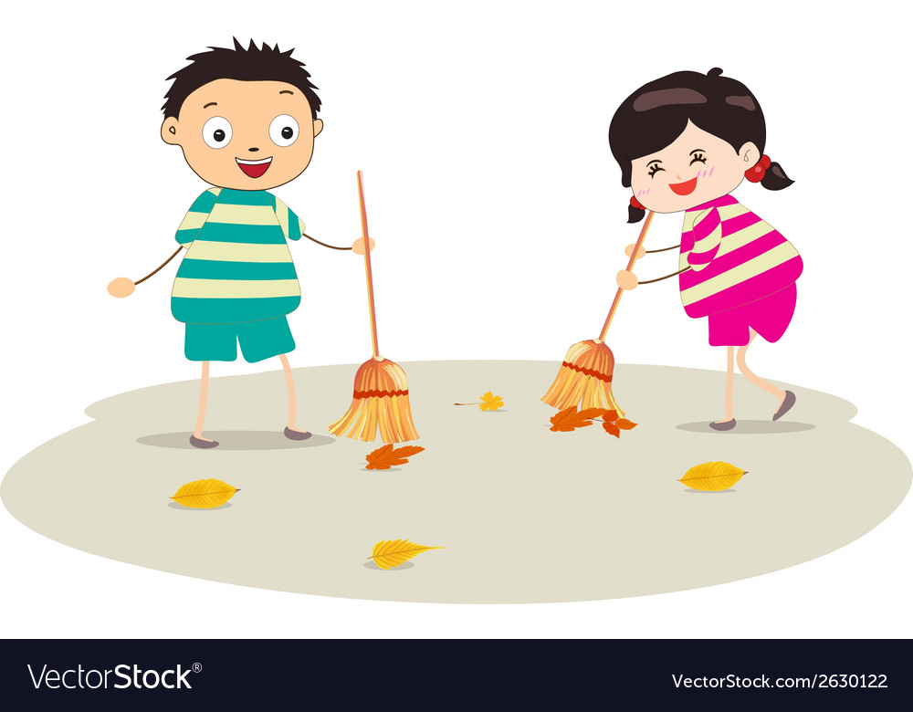 Little girl sweeping vector | Price: 1 Credit (USD $1)