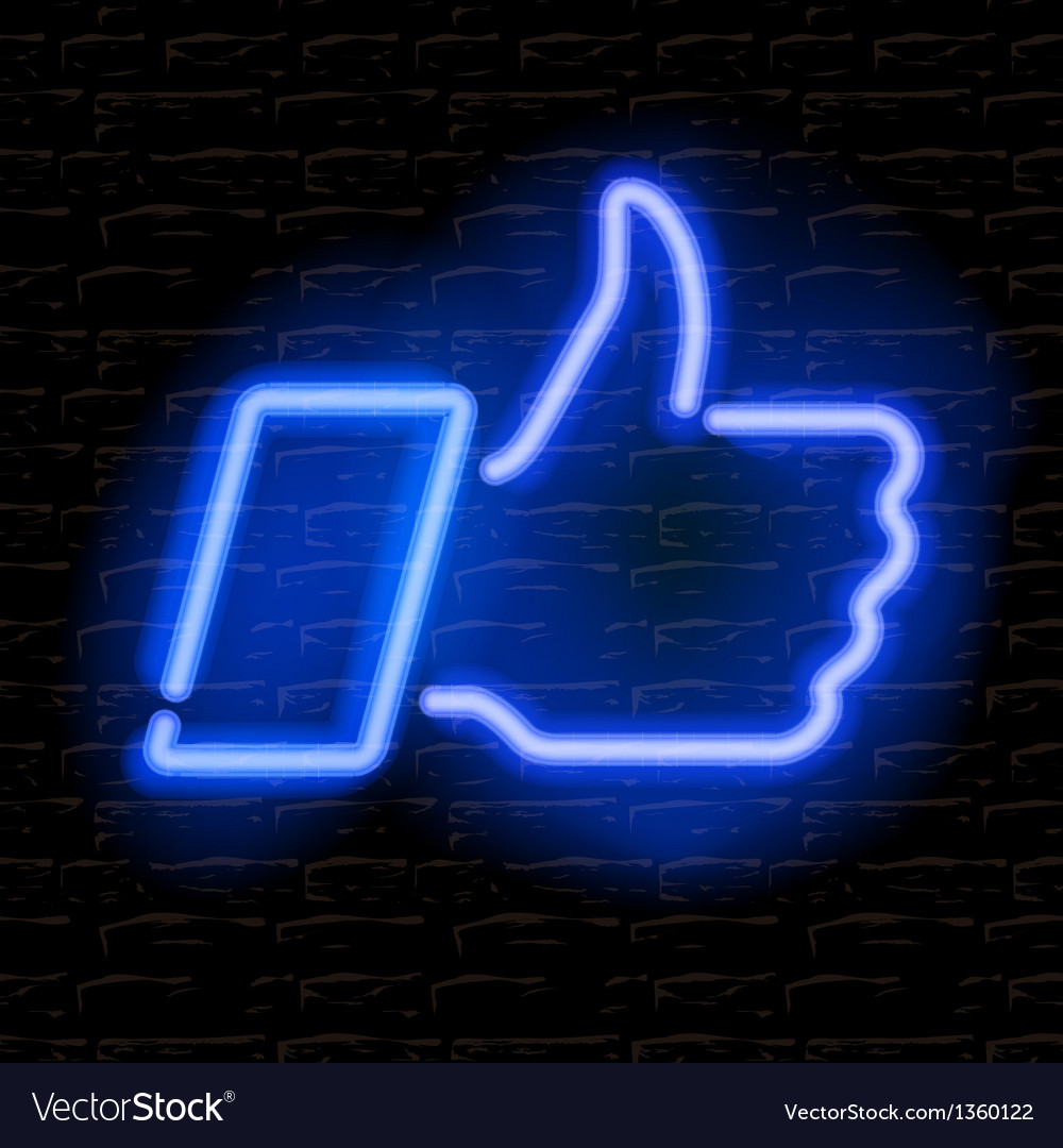 Neon thumbs up symbol on brick wall background vector | Price: 1 Credit (USD $1)