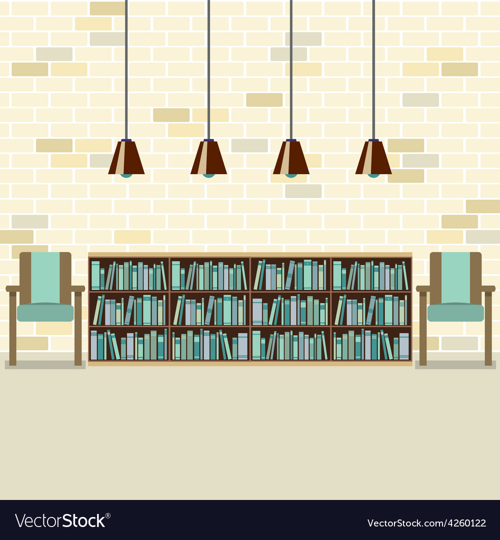 Reading seats with bookcase vector | Price: 1 Credit (USD $1)