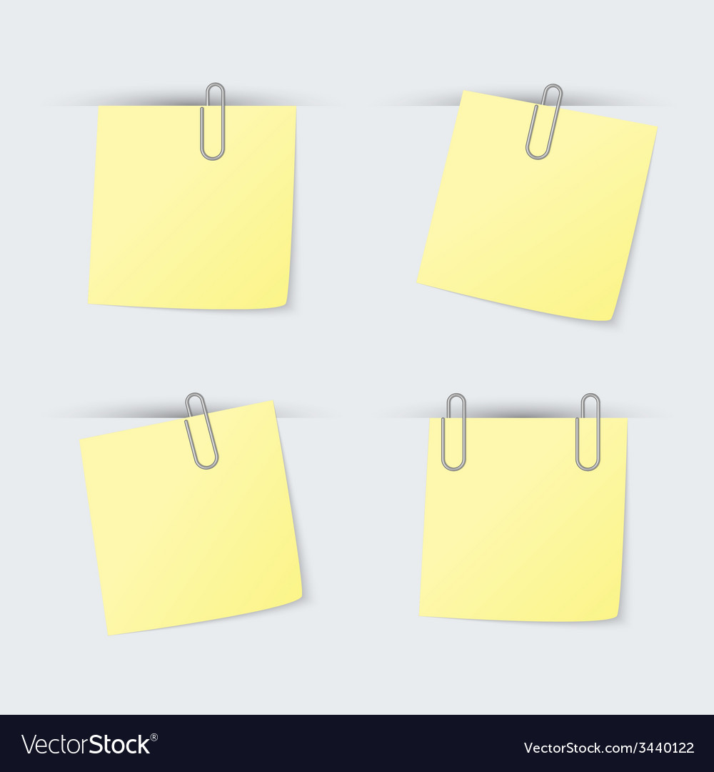 Set of yellow sheets attached clip vector | Price: 1 Credit (USD $1)
