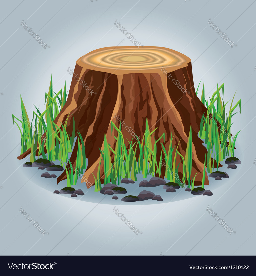 Tree stump with green grass isolated vector | Price: 1 Credit (USD $1)