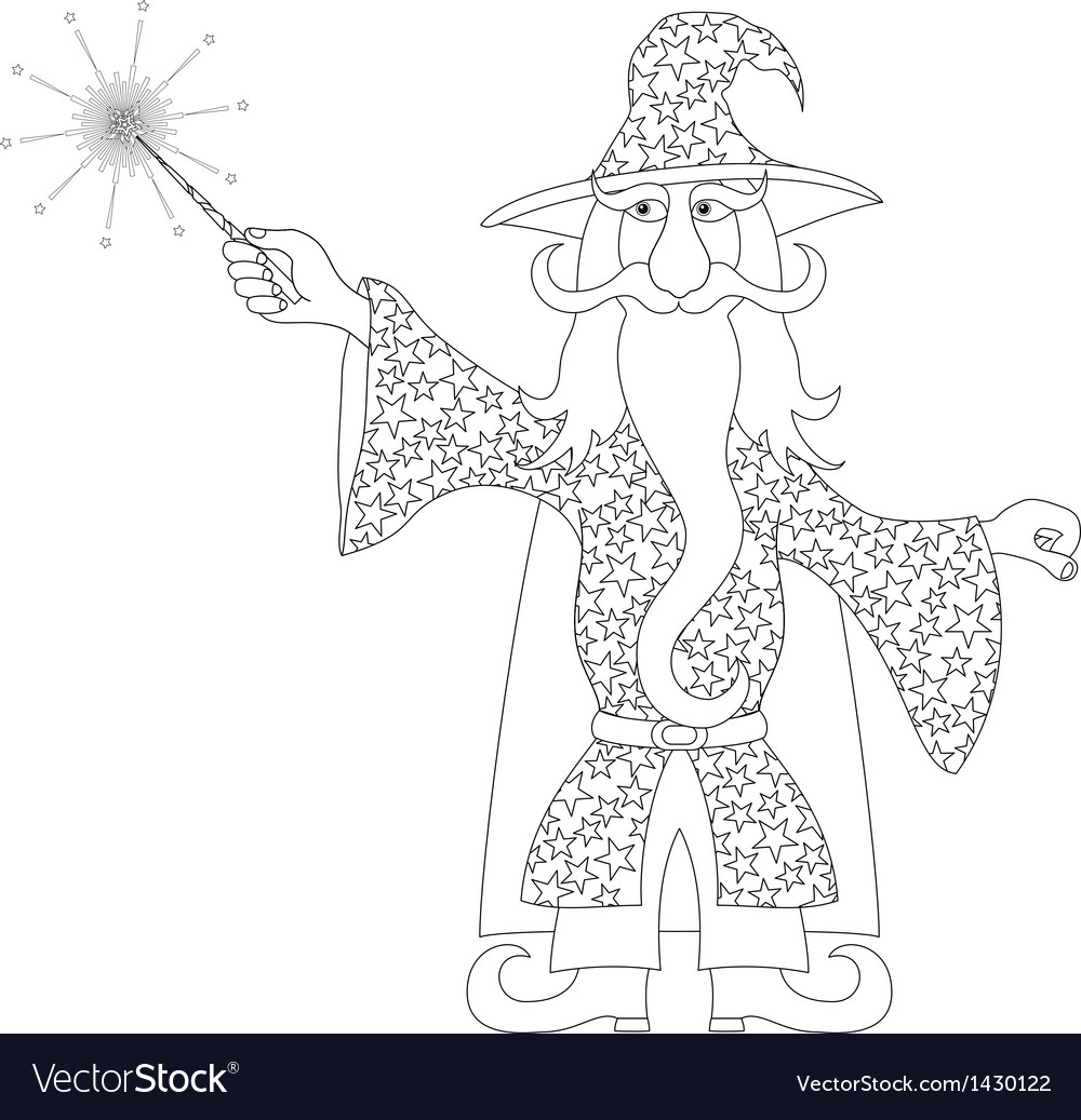 Wizard with magic wand outline vector | Price: 1 Credit (USD $1)