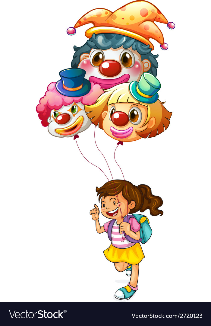 A happy girl holding clown balloons vector | Price: 1 Credit (USD $1)