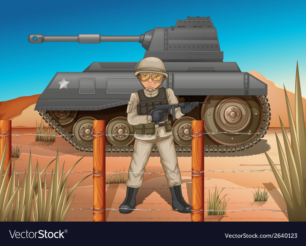 A soldier in front of the tank vector | Price: 3 Credit (USD $3)