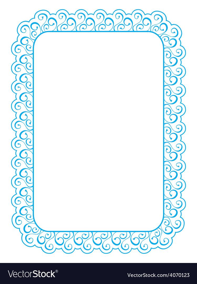 Blue elegant frame on white background vector | Price: 1 Credit (USD $1)
