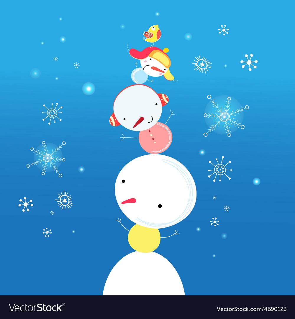 Bright funny snowman vector | Price: 1 Credit (USD $1)
