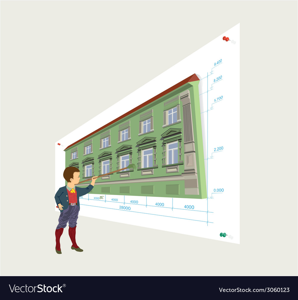 Construction project of the building vector | Price: 1 Credit (USD $1)