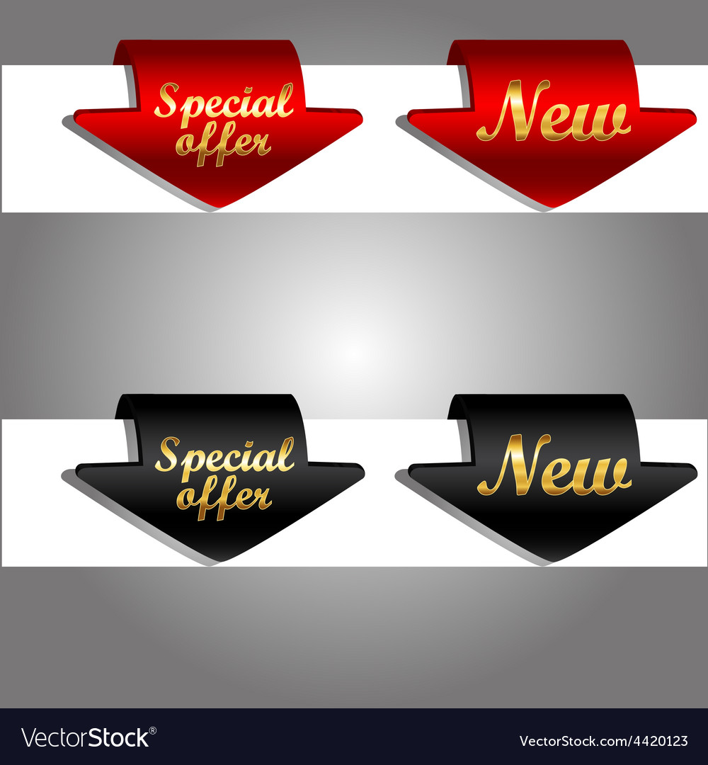 Discount labels bent around paper edge vector | Price: 1 Credit (USD $1)
