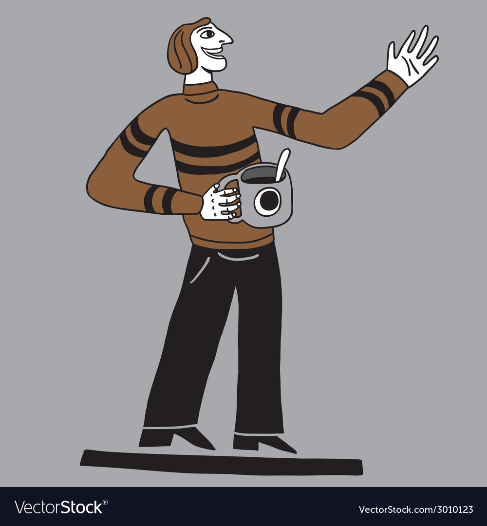 Happy man with coffee cup vector | Price: 1 Credit (USD $1)