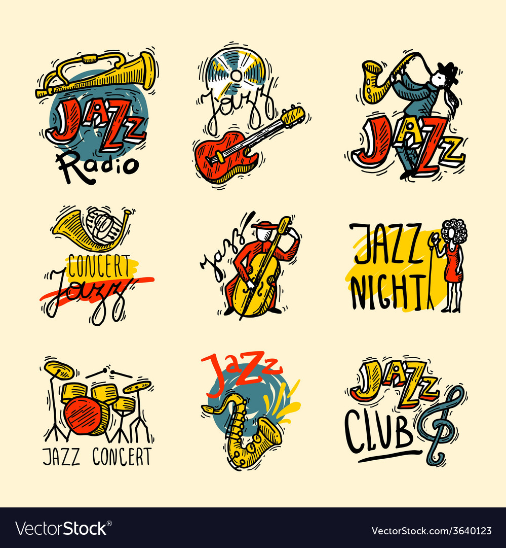 Jazz labels set vector | Price: 1 Credit (USD $1)