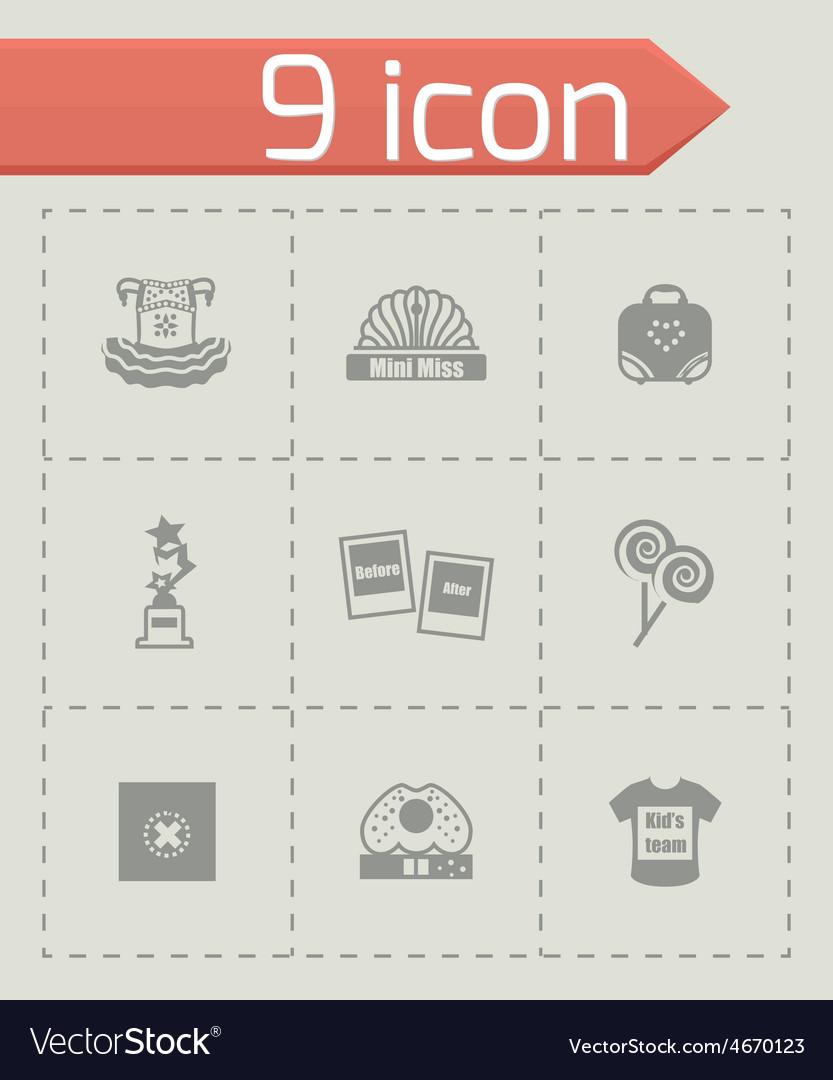 Mini miss icon set vector   Price: 1 Credit (USD $1)