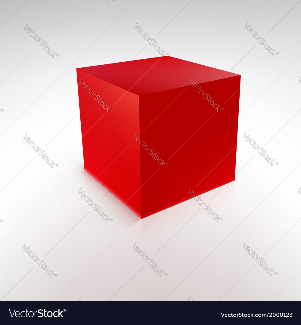 Red cube with reflections and shadows vector | Price: 1 Credit (USD $1)