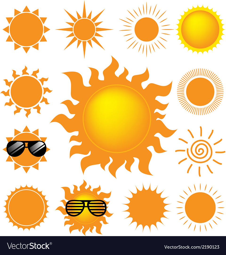Set of the sun on white background vector | Price: 1 Credit (USD $1)