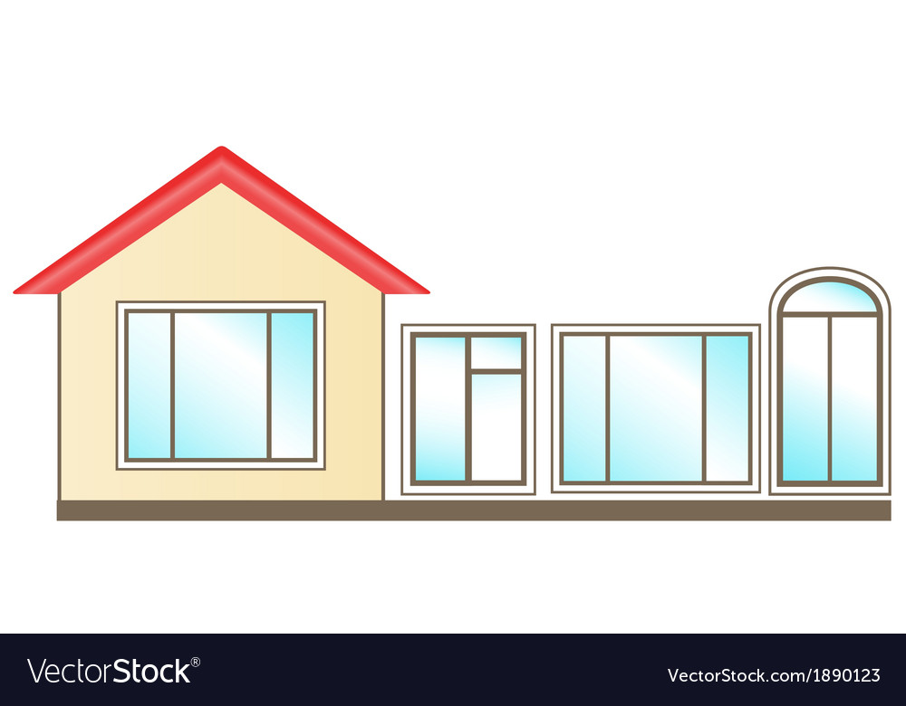 Set of windows for installation in home vector | Price: 1 Credit (USD $1)