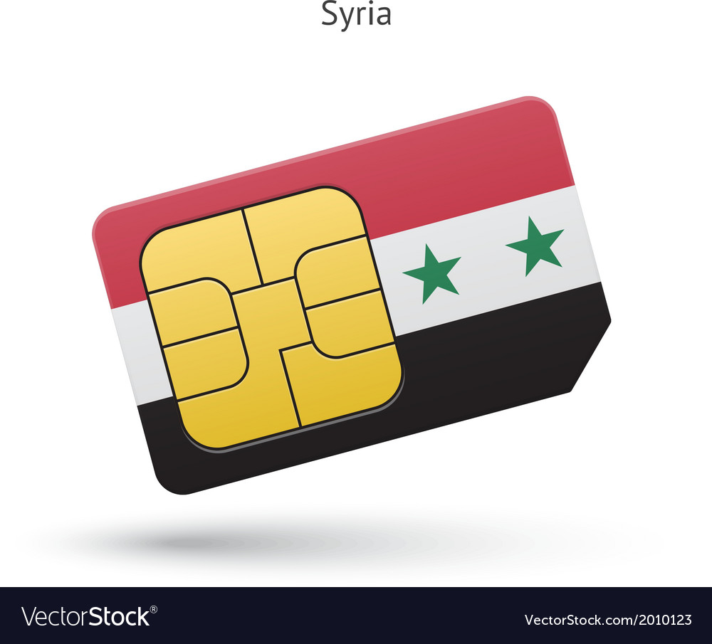Syria mobile phone sim card with flag vector | Price: 1 Credit (USD $1)