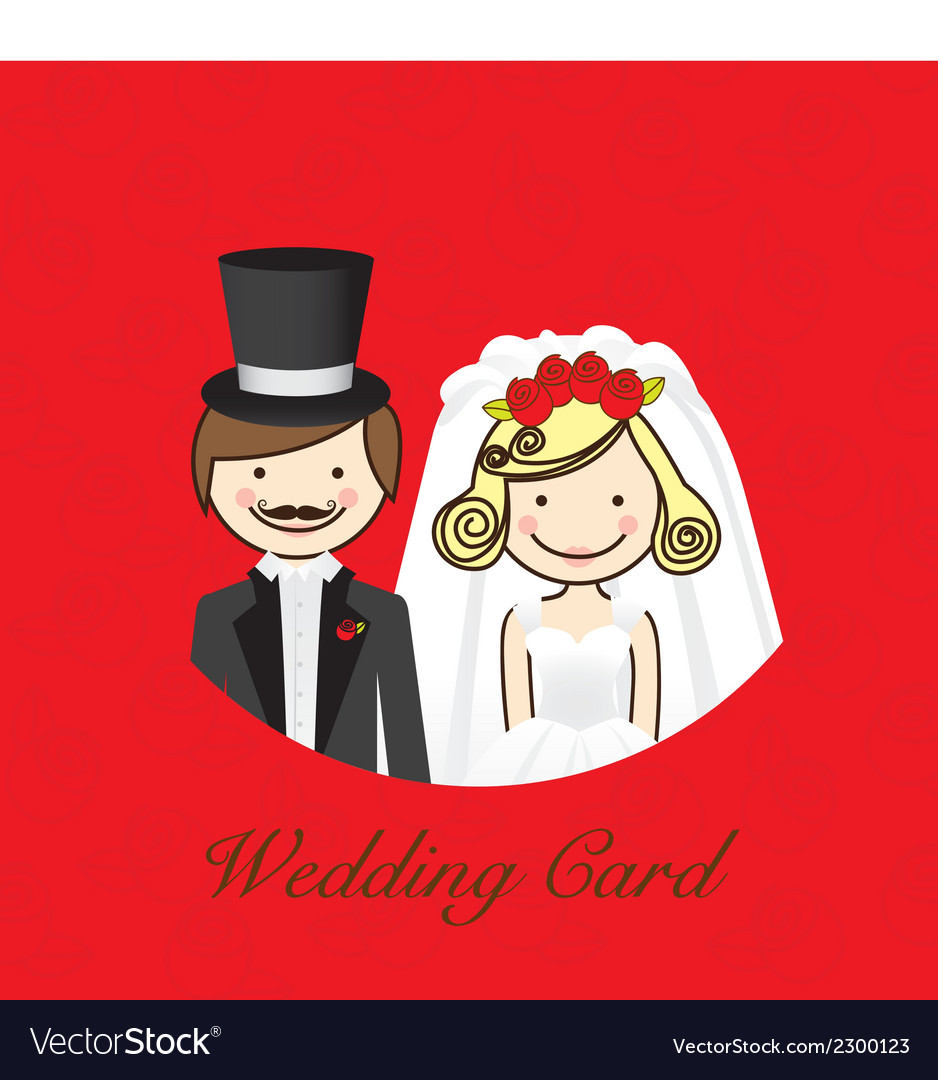 Wedding card wedding couple with wedding dresses vector | Price: 1 Credit (USD $1)