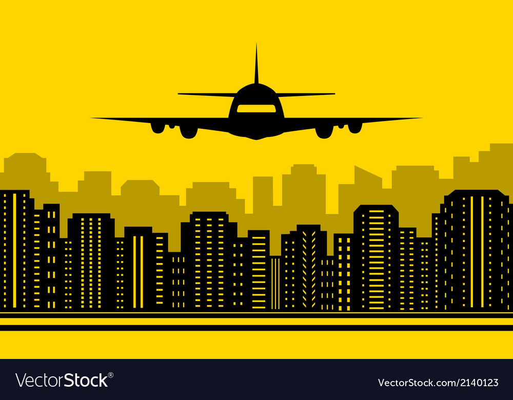 Yellow city background with plane vector | Price: 1 Credit (USD $1)