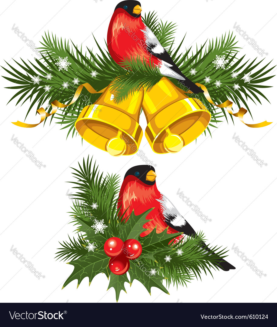 Bullfinch with christmas bells vector | Price: 3 Credit (USD $3)