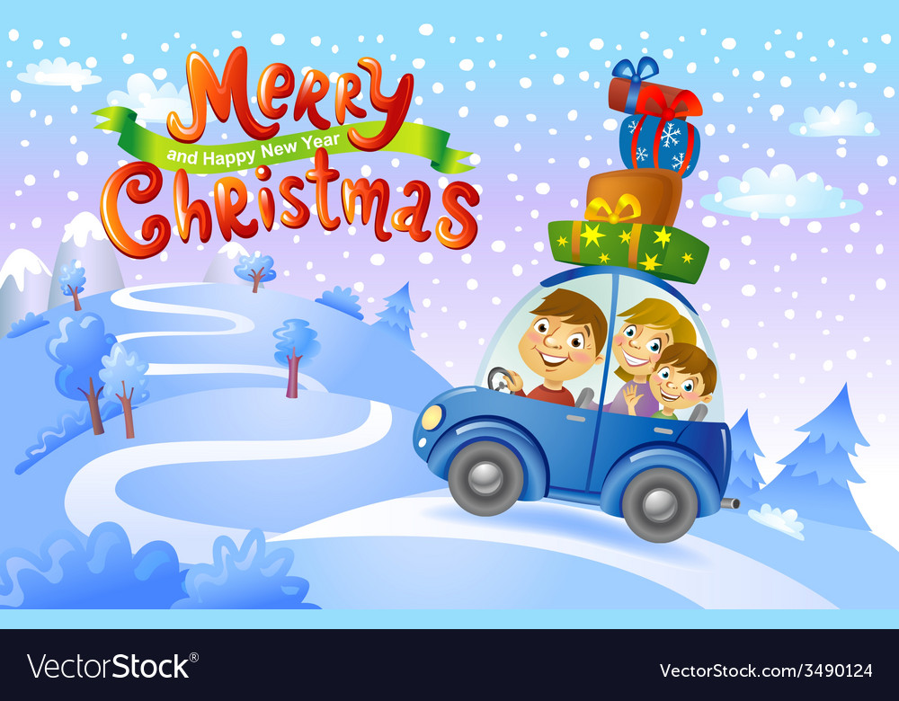Christmas family trip vector | Price: 3 Credit (USD $3)