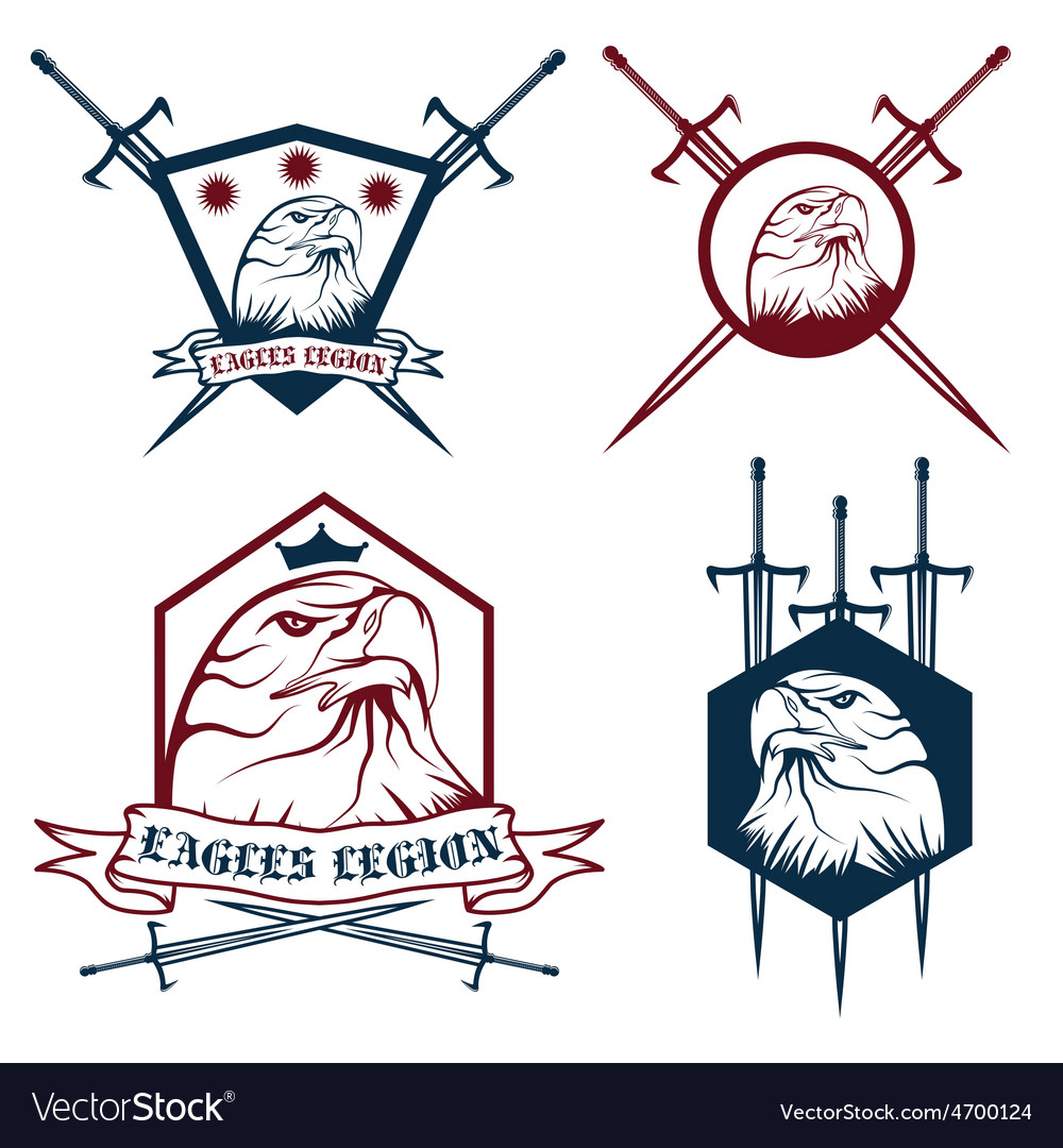 Eagle with crown and swords crests collection vector | Price: 1 Credit (USD $1)