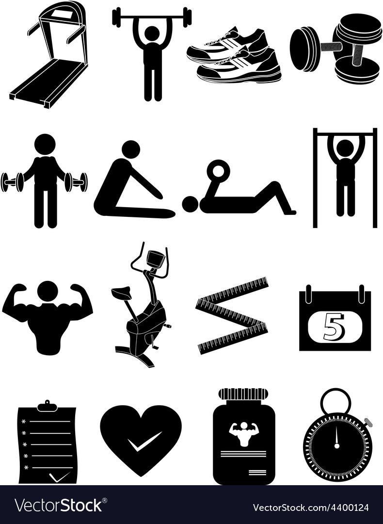 Fitness healthcare icons set vector | Price: 1 Credit (USD $1)