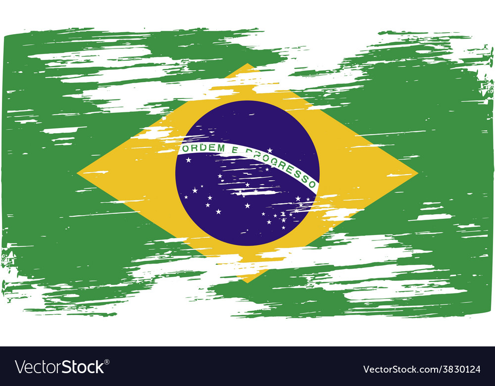 Flag of brazil with old texture vector | Price: 1 Credit (USD $1)