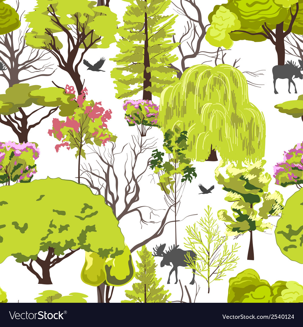 Forest tree sketch seamless vector | Price: 1 Credit (USD $1)