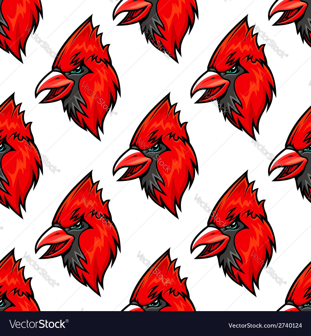 Red cardinal bird seamless pattern vector | Price: 1 Credit (USD $1)