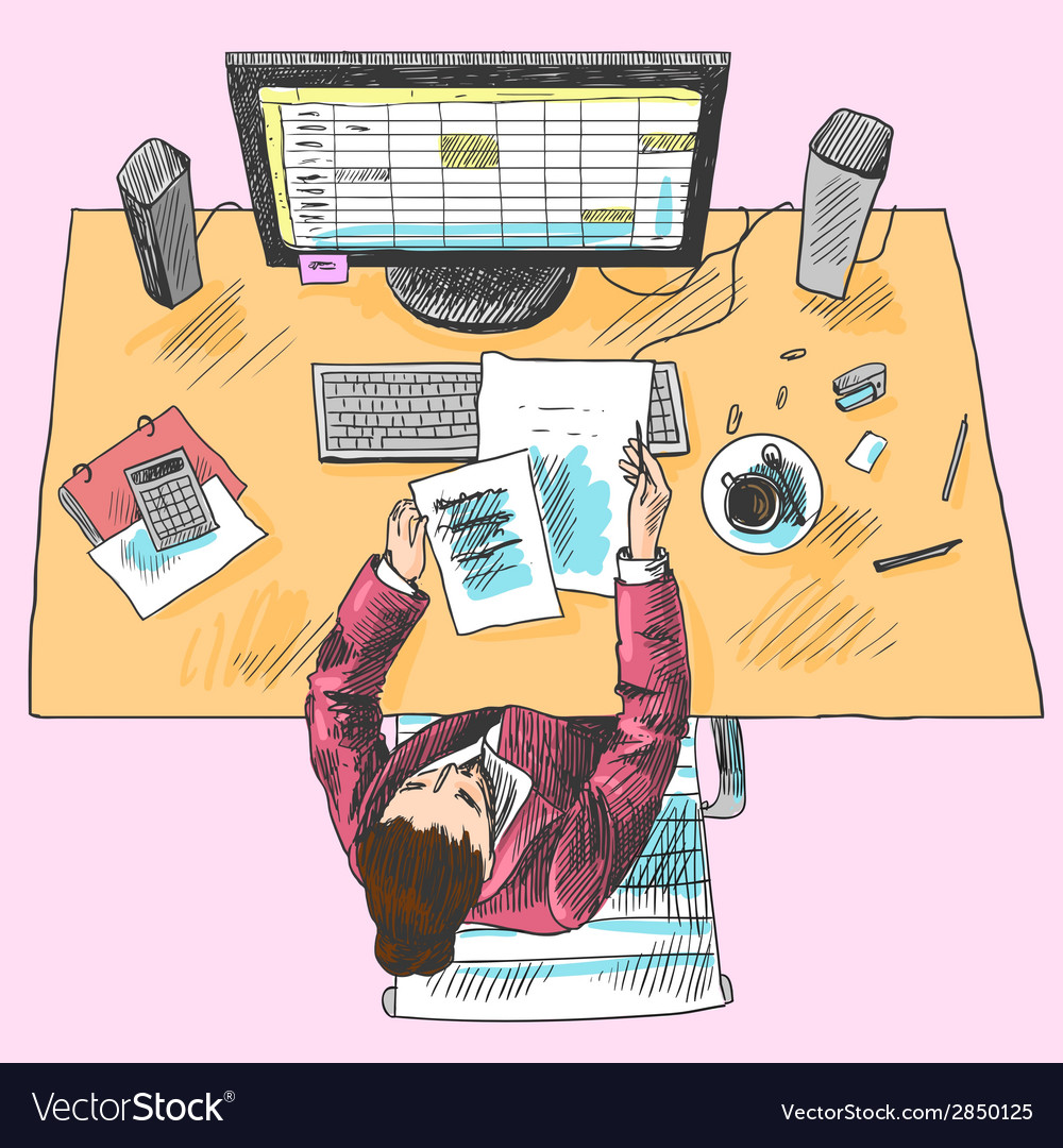 Accountant work place colored vector | Price: 1 Credit (USD $1)